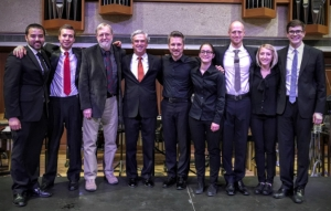 Burritt, Junkin, and Joseph Schwantner with the UTWE Percussion Section